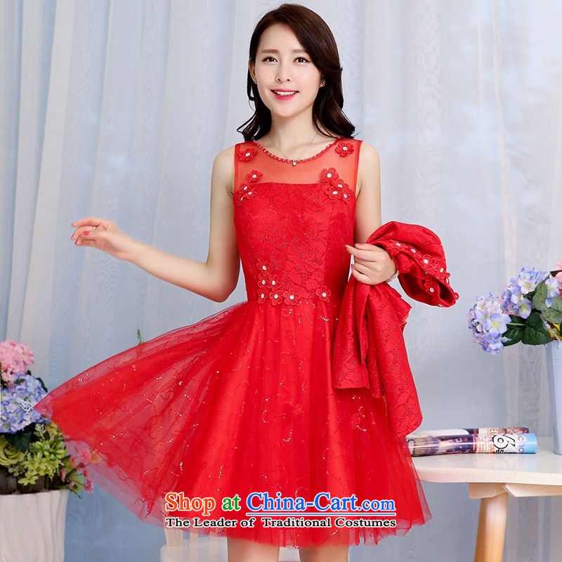 2015 Autumn and Winter Ms. new large red bridal dresses two kits evening dress the yarn round-neck collar flowers adorned in long skirt Princess Bride Skirts 1 red�L