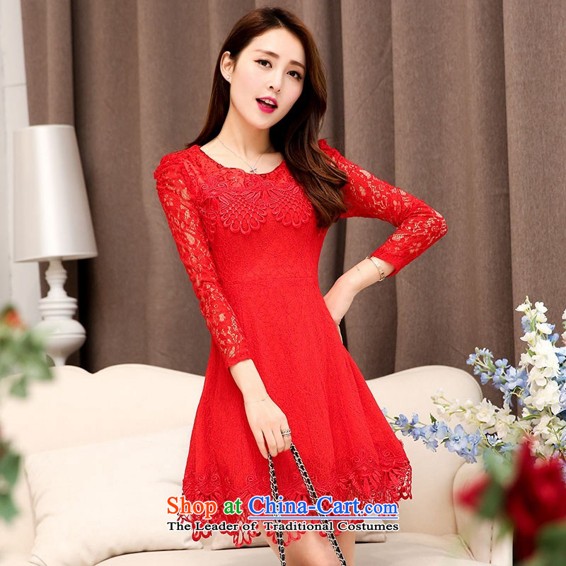 2015 Autumn and Winter Ms. new large red round-neck collar long-sleeved bridal dresses video thin lace Sau San long-sleeved engraving bride skirts temperament gentlewoman bows services 1 RED聽M