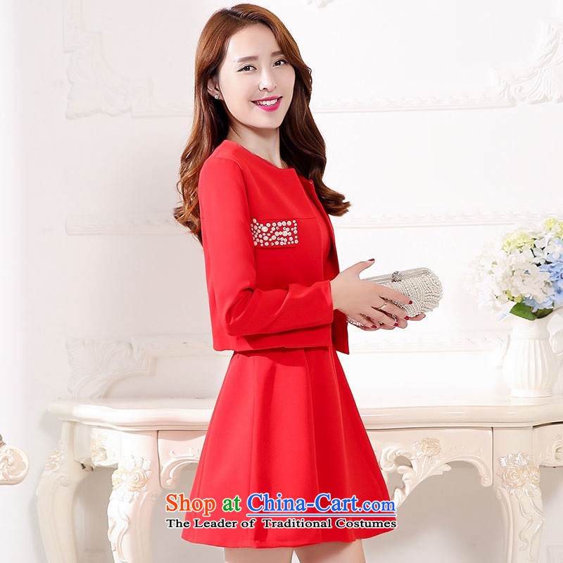 2015 Autumn and Winter Ms. new large red two kits bridal dresses Sau San video thin banquet dress jacket bride evening dresses skirts bride bows services 1 RED聽M