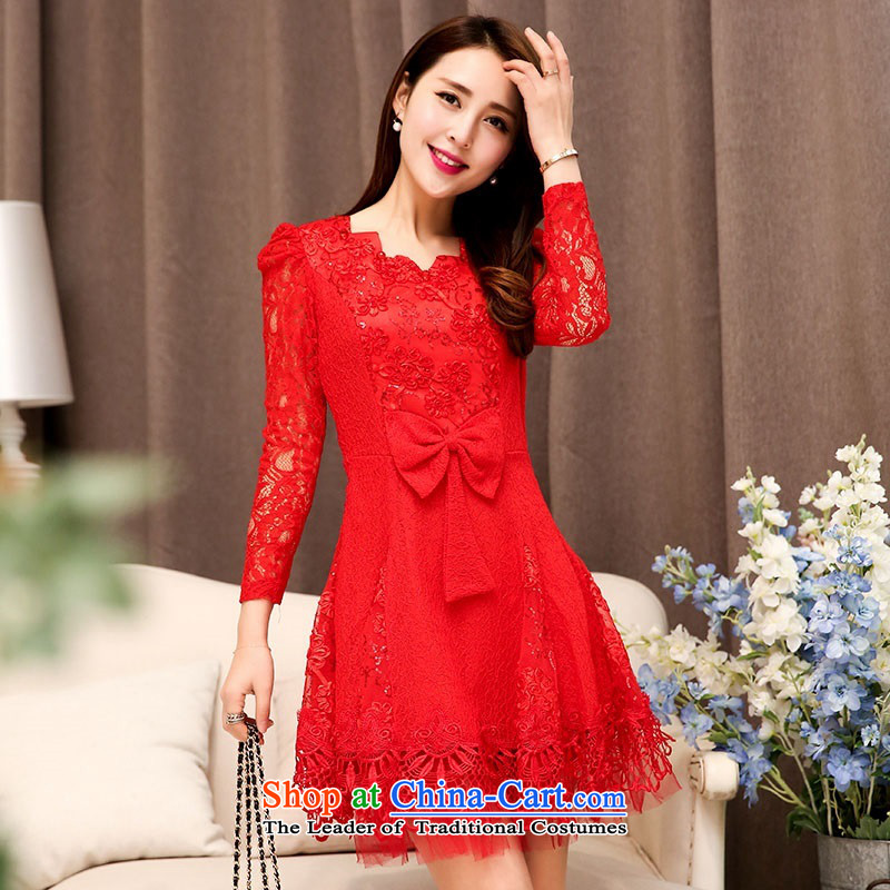 2015 Autumn and Winter Ms. new waves for long-sleeved lace engraving bridal dresses evening dresses Sau San Bow Tie Princess video thin skirt Fashion bride services 1 red�XXL toasting champagne