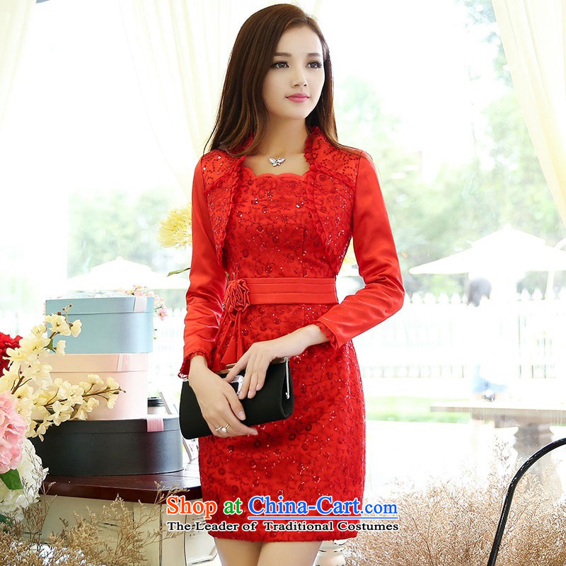 2015 Autumn and Winter Ms. new large red two kits bridal dresses evening dresses and stylish Sau San Video Foutune of bride skirts thin banquet bows services 1 color photo of Princess skirt�XXXL