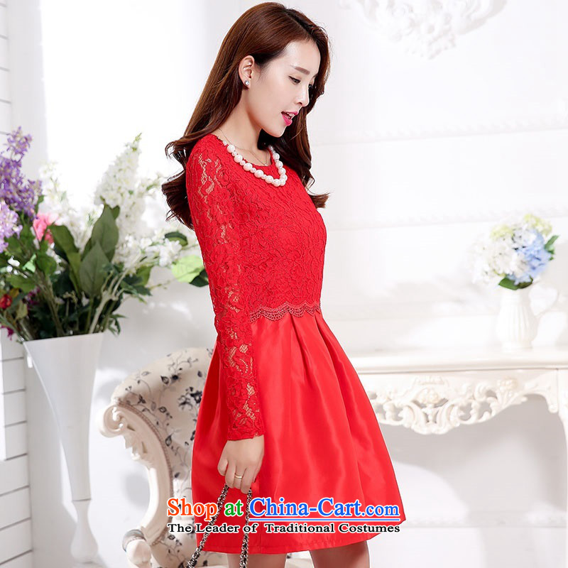 2015 Autumn and Winter Ms. new large red bridal dresses evening dresses bon bon skirt lace hook flower bows to Sau San video thin bridesmaid wedding dresses snapshot service 1 red?XXXL