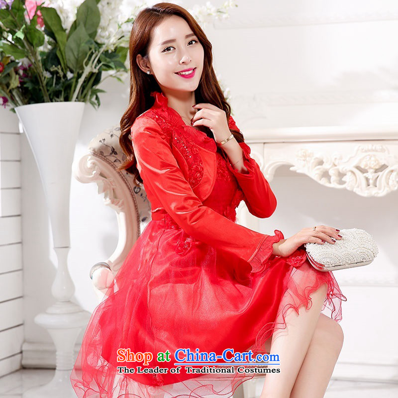 2015 Autumn and Winter Ms. New Red two kits strap bridal dresses Sau San video thin bon bon skirt banquet dinner dress in long) bows bridesmaid services 1 red XL