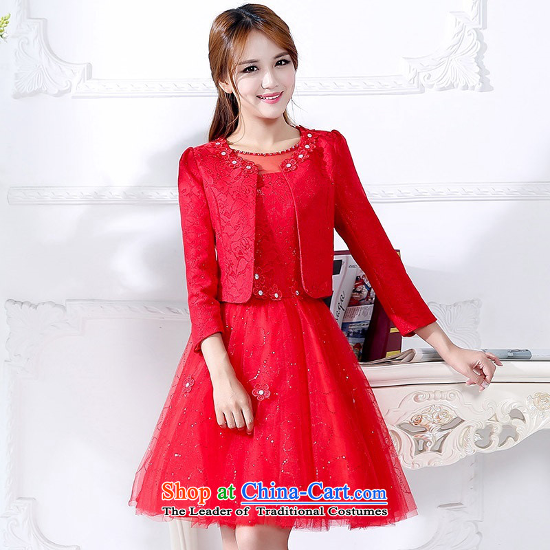 The 2015 autumn and winter Ms. new large red two kits in long bridal dresses bon bon skirt thin dress Sau San video banquet service will serve a drink 1 RED聽M