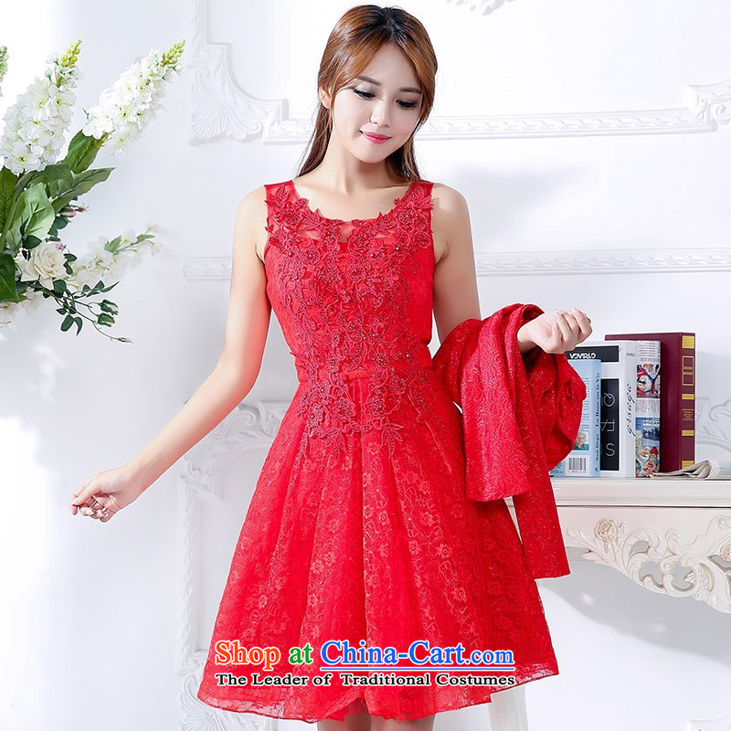 2015 Autumn and winter new women's large red long two kits bridal dresses Sau San video thin princess wedding dress jacket temperament dresses bows services 1 red L