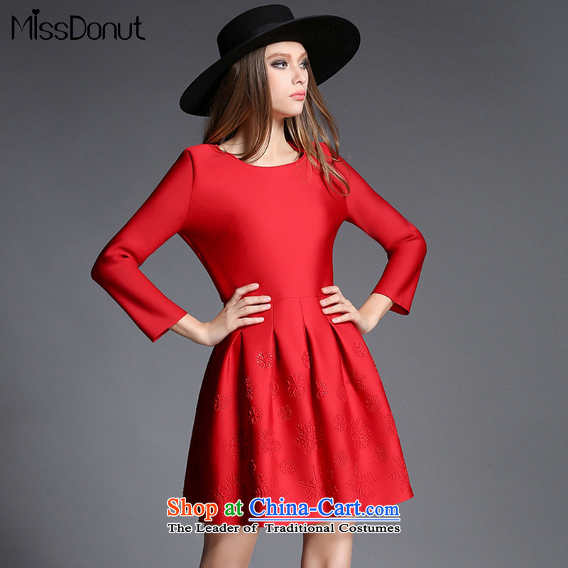 The European station 2015 missdonut autumn and winter women in Europe and America new long-sleeved red bridesmaid dress suits skirts, forming the red?XL