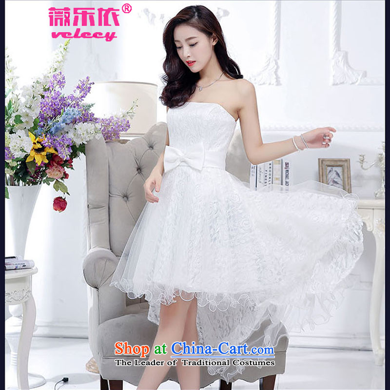 In accordance with the 2015 Korean Music Ms Audrey EU version of the new bride replacing Foutune of graphics with a bow tie belt thin tail and chest evening dresses bridesmaid services services female Red White bows?XL