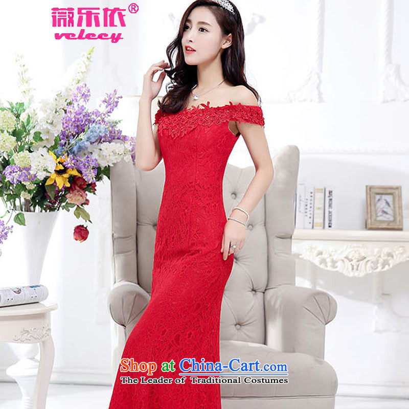 Ms Audrey EU to bride bows serving american 2015 new red wedding dress shoulder long evening dresses wedding video thin dresses of autumn and winter RED?M