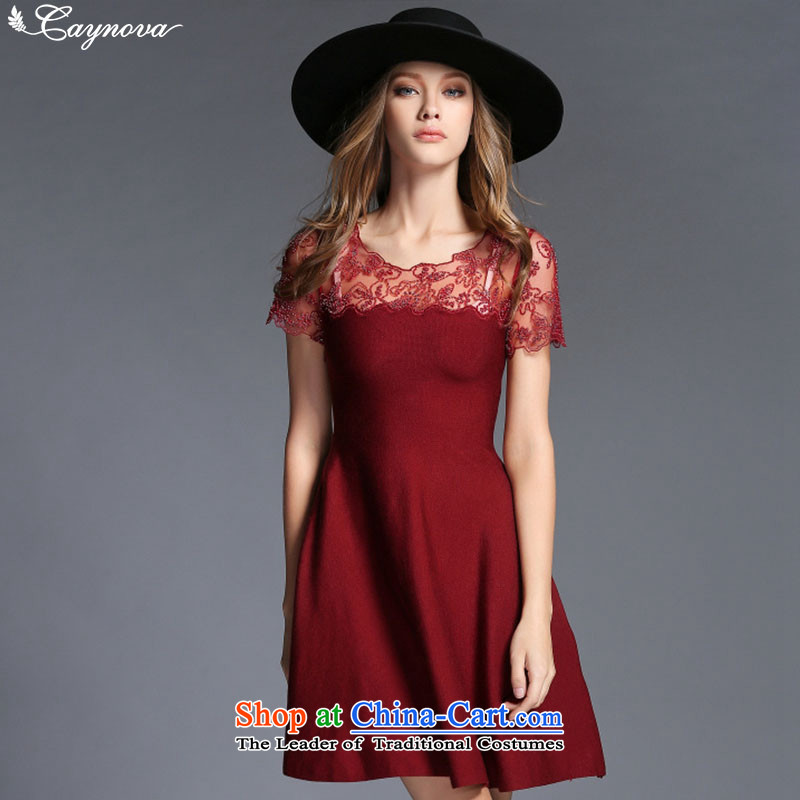 Load New caynova2015 autumn WESTERN ELEGANCE Heavy Industry of booking of Pearl River Delta jersey dresses skirts Sau San Red?S
