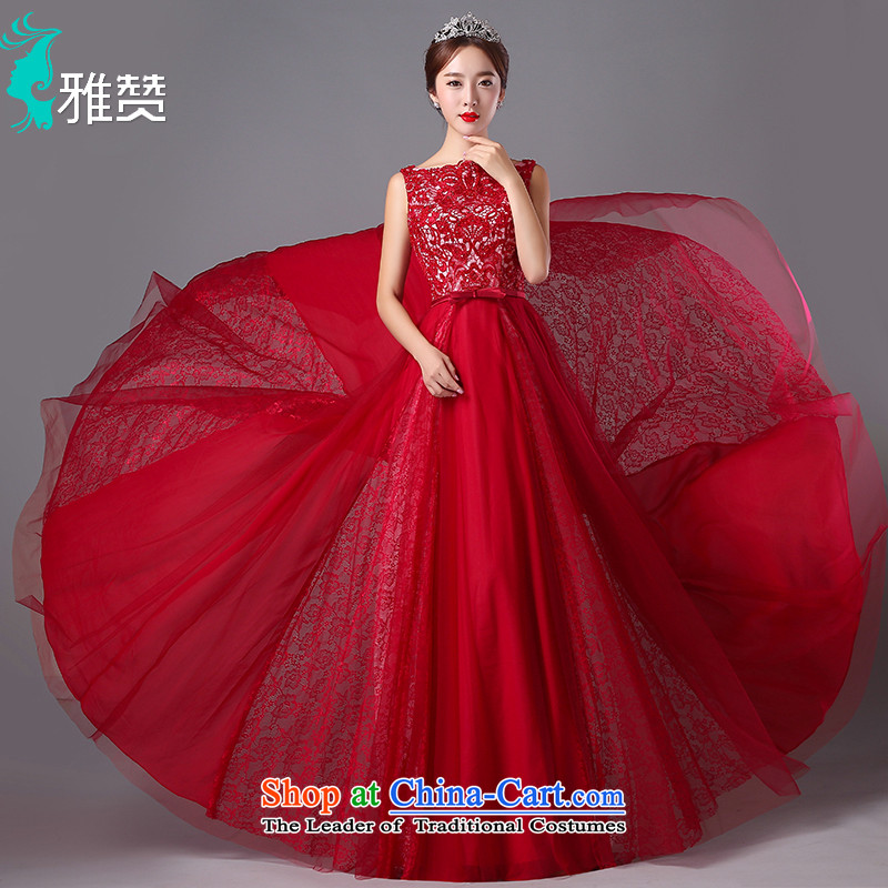 Jacob Chan evening marriages bows dress evening dress long small trailing sleeveless 2015 autumn and winter new lace deep red聽L
