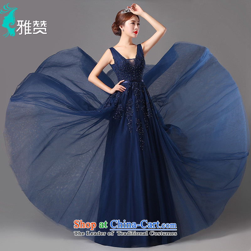 Jacob Chan evening dresses long nights annual chairpersons dress small trailing the new 2015 Autumn and Winter Female sense lace navy�S