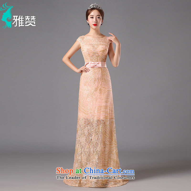 Jacob Chan moderator dress long new 2015 autumn and winter Sau San video lace thin small trailing bridesmaid to serve evening dress orange pink?S