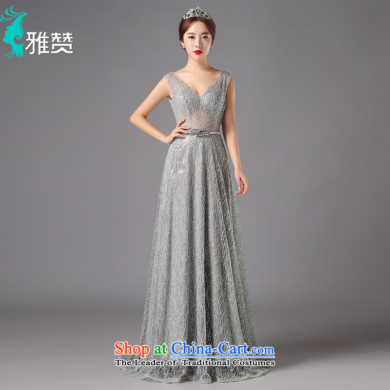 Jacob Chan evening dresses long small trailing 2015 new autumn and winter and sexy deep V-neck in the annual meeting of the persons chairing the back dress silver gray?XXL