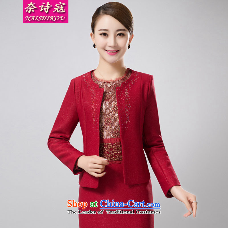 The poem Kou? 2015 wedding package install MOM two kits for middle-aged jacket wedding dresses female red?3XL