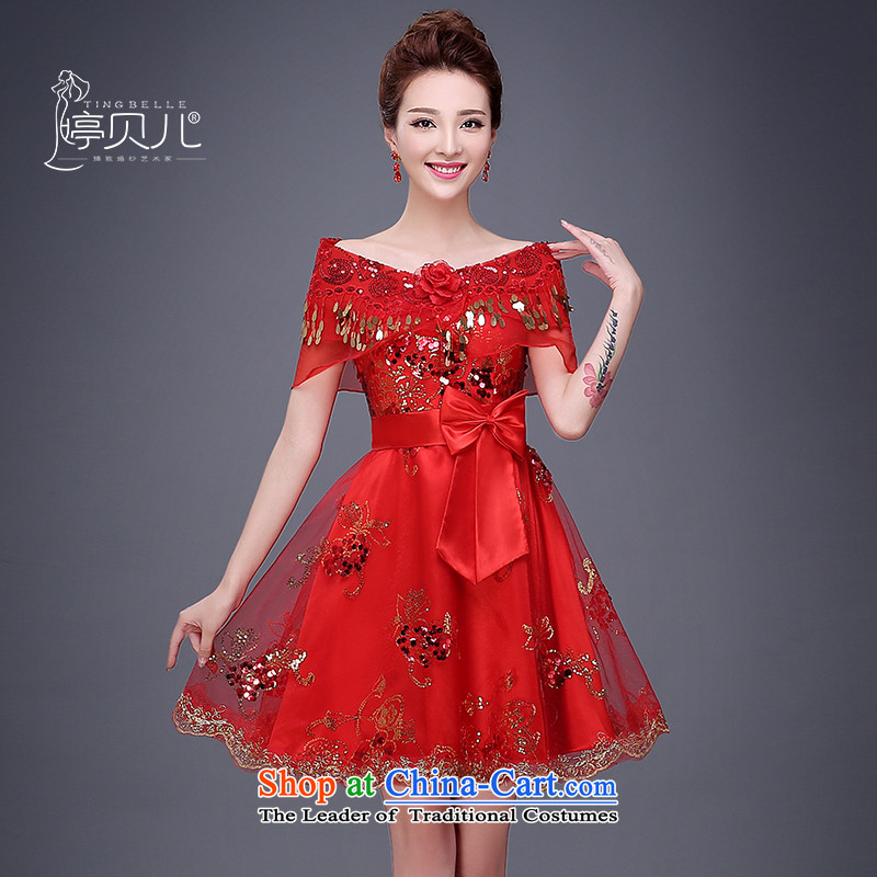 The bride services 2015 Summer bows new pregnant women married to dress short, the betrothal small dress dresses female red autumn package shoulder�XL