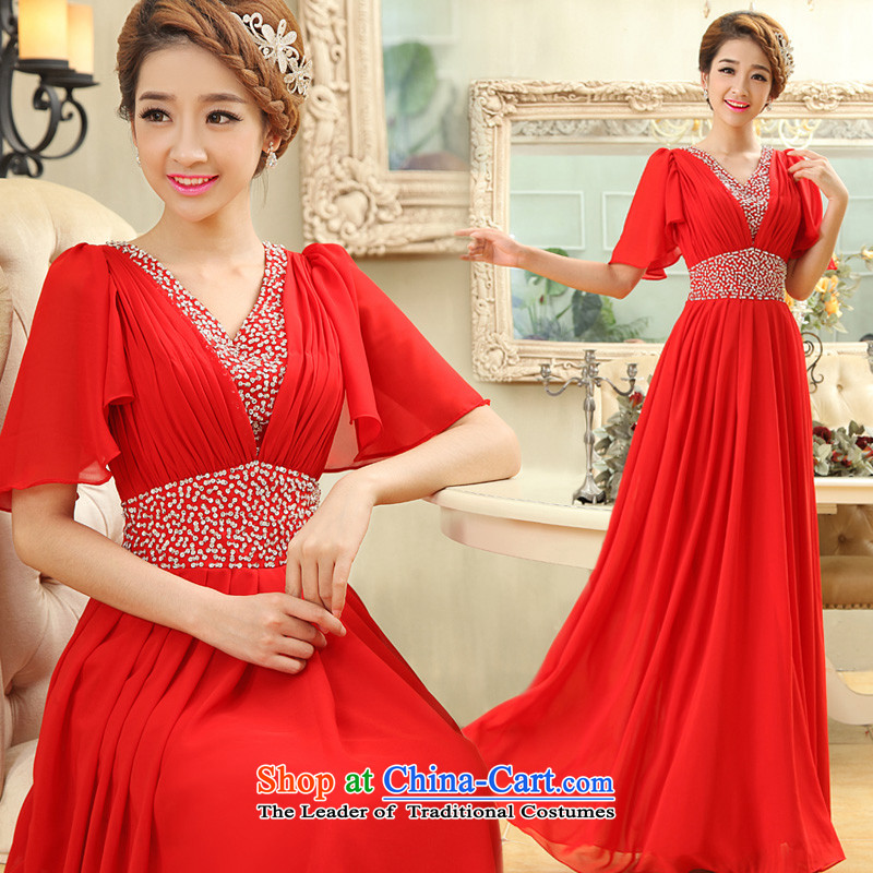 Long gown bride wedding dress female red wedding dress autumn 2015 new services for larger groups bows mm Red�L