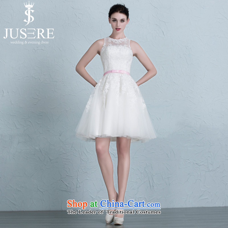 There is a shortage of wedding dresses bridesmaid to Sau San services lace strap evening dress white tailored