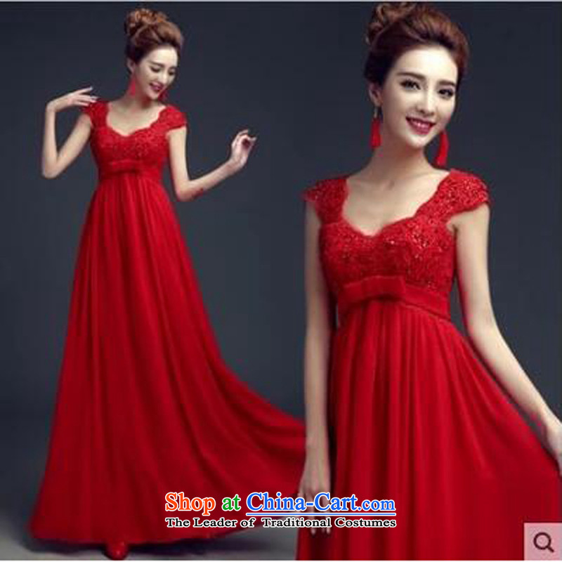 As brides bows Services on 2015 new red long high waist straps pregnant women shoulders great evening dress code red?S