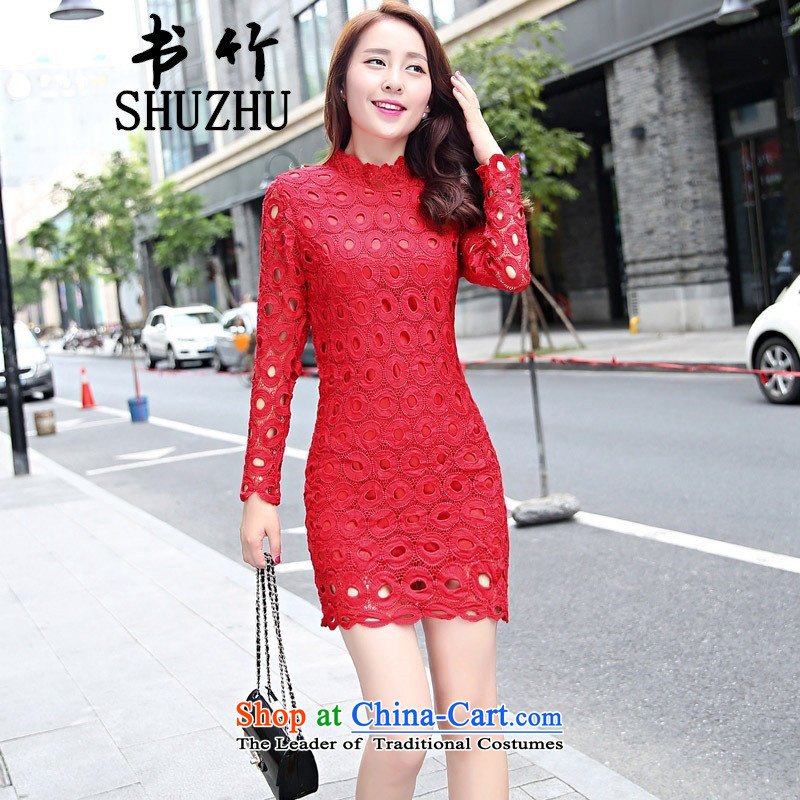 2015 Autumn forming the new product lace engraving long-sleeved package and step skirt temperament Sau San dress dresses red聽L