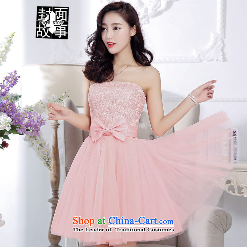 Cover story by 2015 after long tail short two dimensional large flower wedding dresses bride Sau San foutune shoulder bon bon apron skirt pink XL
