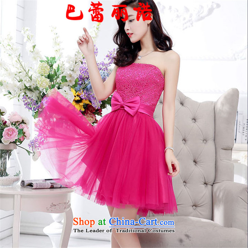 The buds of 2015 autumn and winter, the new bride dress large red bows to wipe the chest lace stitching bridesmaid skirt gauze bon bon skirt rose red XL