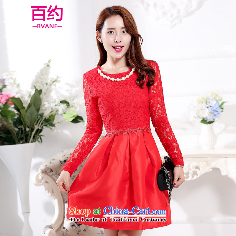 The new 2015 Autumn BVANE replacing Korean elegant dresses round-neck collar long-sleeved clothing back door small bows dress female red�XXL