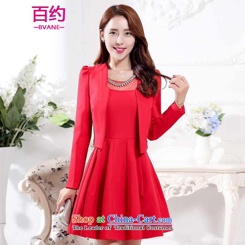 The new 2015 Autumn BVANE replacing bride services back door small bows dress jacket was renovated late female dresses red? _two kit_ M