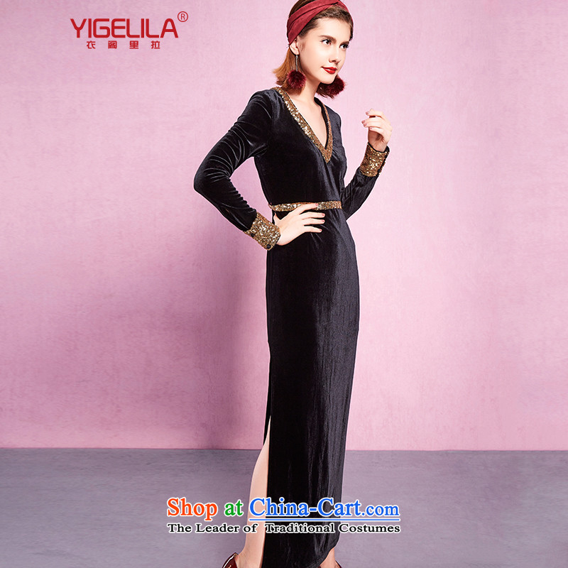 Yi Ge lire aristocratic temperament velvet retro elegant stitching Kim chip deep V-Neck banquet long-sleeved dresses Sau San dresses and Jacob black 61227 S