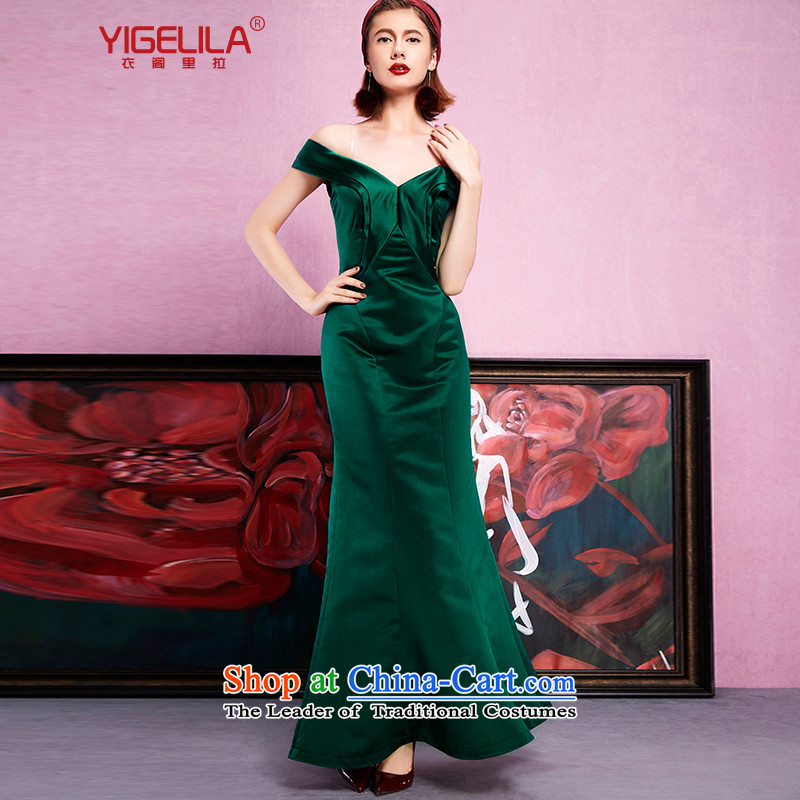 Yi Ge lire aristocratic temperament plain light silk satin slotted bare shoulders crowsfoot organ skirt banquet dress dresses Doi green 61234 L