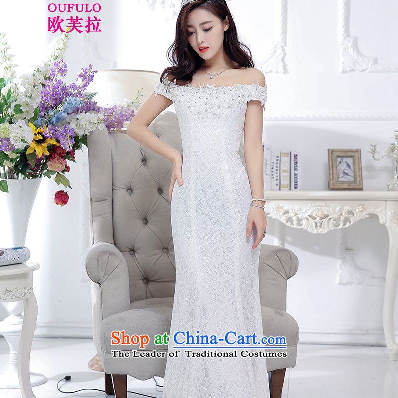 The OSCE to pulloufulo 2015 winter clothing new word shoulder half lace under     Foutune of dresses dress elegant new female whiteM