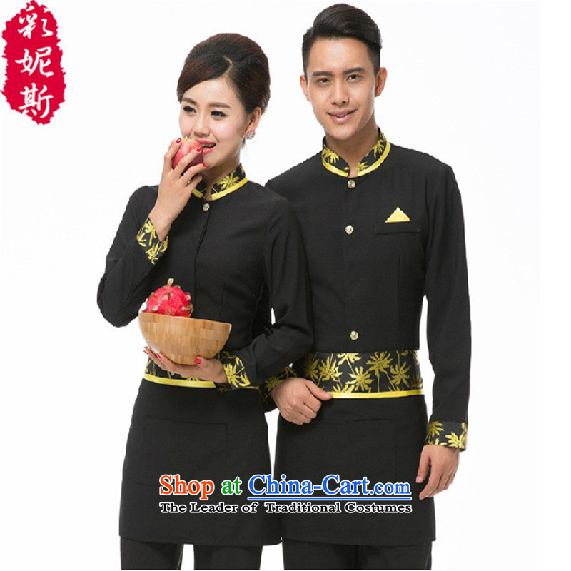 The Secretary for Health related shops * teahouse dining cafe restaurant restaurant service; women and men in fall and winter clothing long-sleeved green (male overalls T-shirt + apron) M