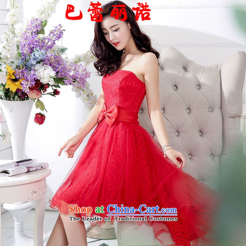 The buds of 2015 autumn and winter, the new bride evening dresses and chest after short long red lace bridesmaid services dresses evening drink service banquet red�L