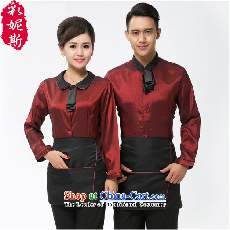 The Secretary for Health related shops * Hotel attendants workwear cafe cake shop with women and men Fall/Winter Collections long-sleeved T-shirt + red (male) L Apron