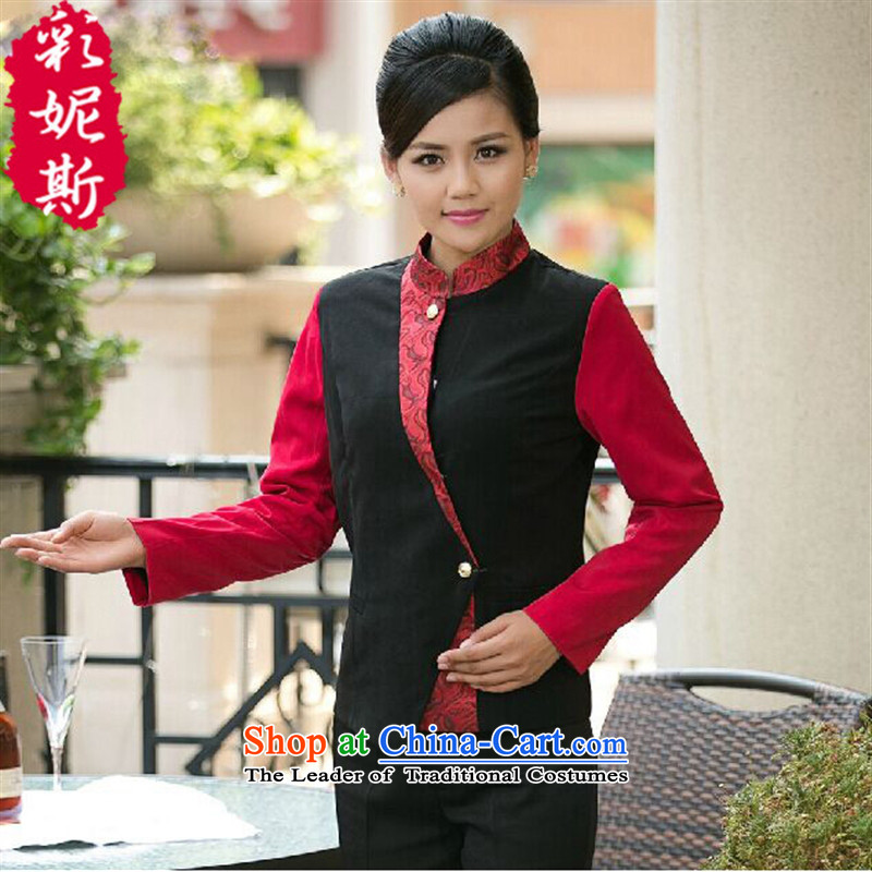 The Secretary for Health related shops restaurants cafe restaurant _ attendants workwear women autumn and winter overalls long-sleeved shirts_ Purple _female XXL