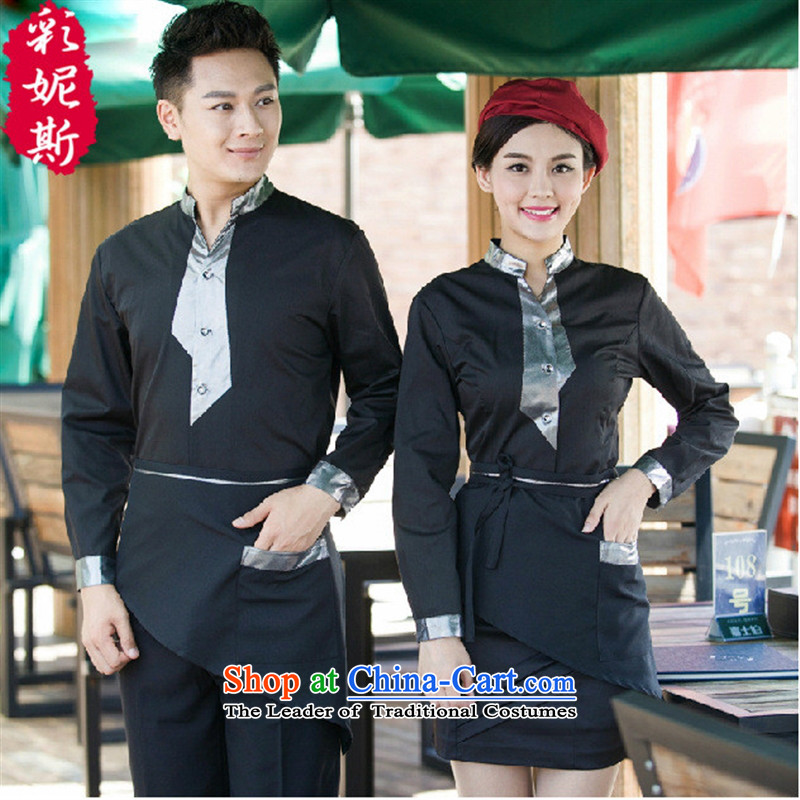 The Secretary for Health related shops _ attendant long-sleeved shirt hotel restaurant the hotel cafe men and women work clothes Fall_Winter Collections of green T-shirt + apron_ _L