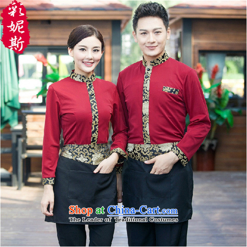 The Secretary for Health Concerns Shops • restaurant the hotel staff working dress men and women Fall/Winter Collections long-sleeved Hot Pot Cafe with female red T-shirt + apron) (L