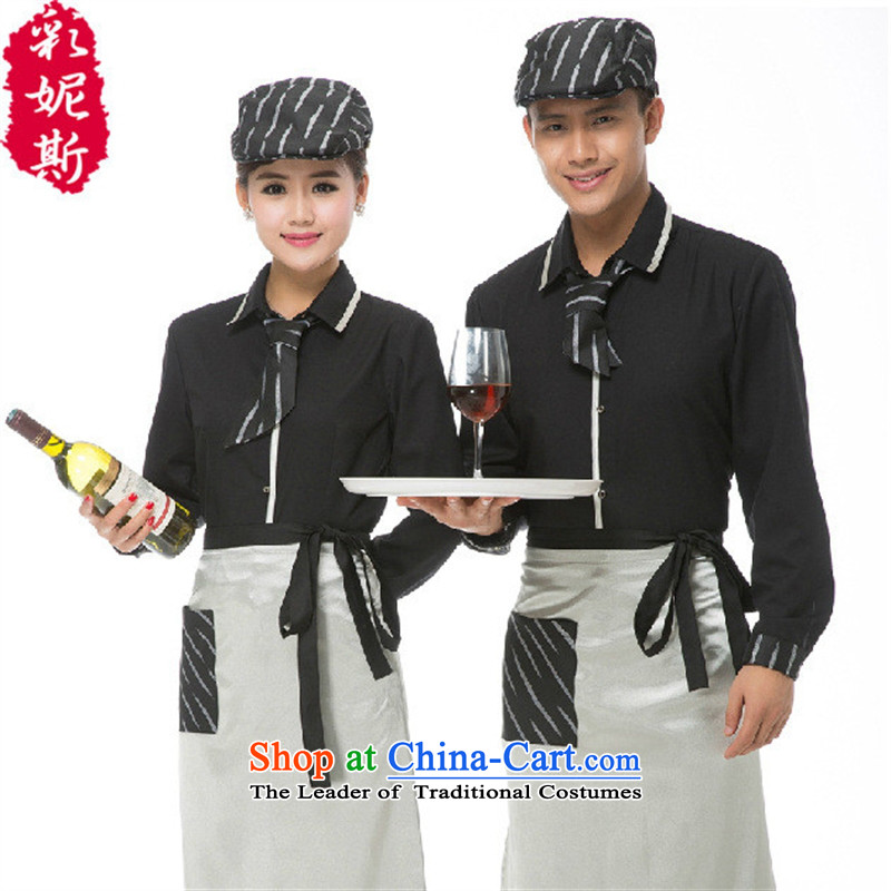 * the gender concerns and clothes shops Fall/Winter Collections Hot Pot Restaurant Cafe long-sleeved shirt hotel attendants workwear female black (T-shirt + apron) male green T-shirt + apron) (XXL