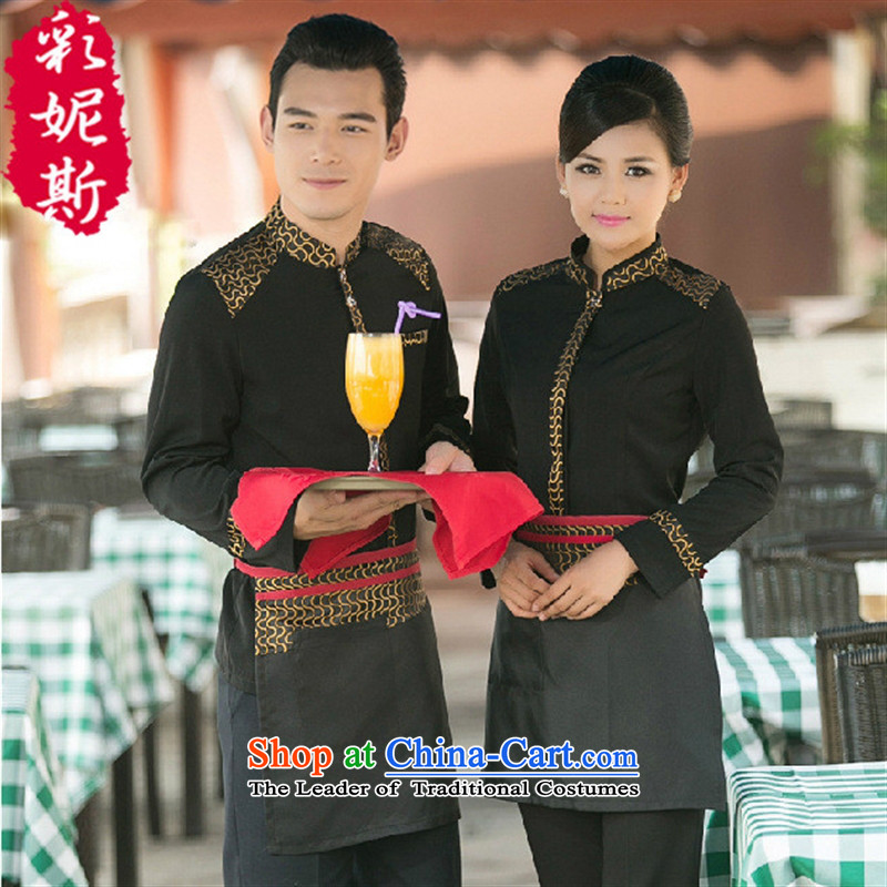 The Secretary for Health related shops _ hotel dining cafe waiters working dress long-sleeved clothing Fall_Winter Collections male black T-shirt _black_ female apron + _T-shirt + apron_ L