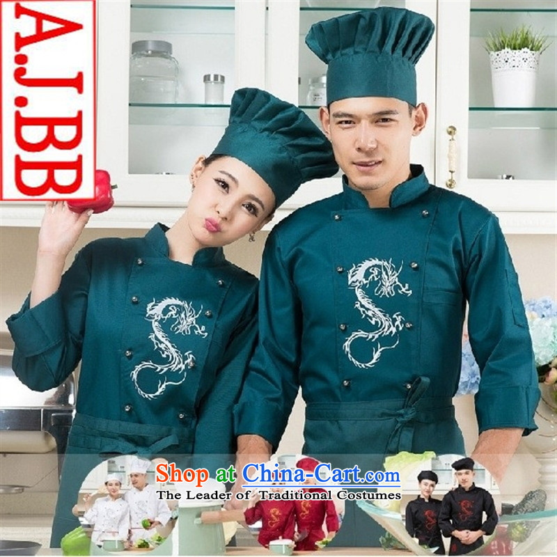 The Secretary for Health related shops _ embroidered dragon hotel restaurant the restaurant chef of long-sleeved clothing and autumn and winter female red shirts_ _white male _T-shirt_ XXL