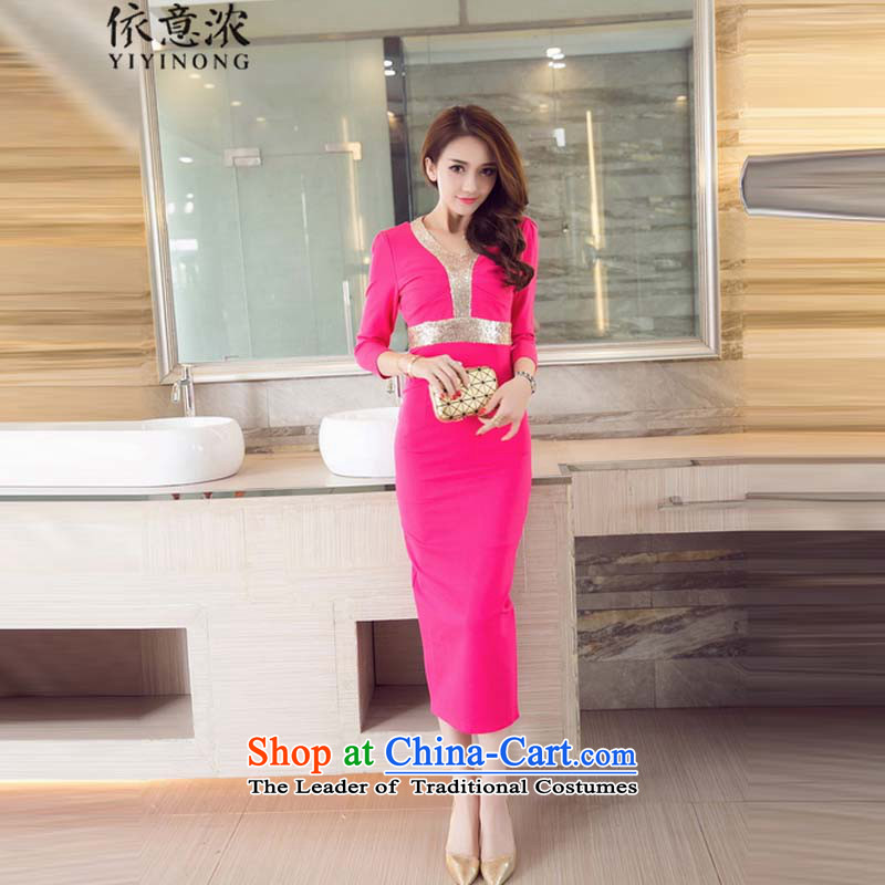 In accordance with the intention the� autumn 2015 replacing stylish strong sense of V-Neck back on chip package and Sau San dresses dress long skirt girl�in 9180 Red�L