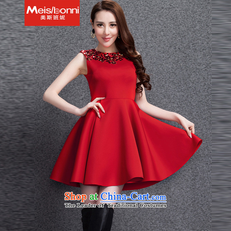 The United States was?even smaller brides Connie 2015 annual service space cotton dress vest skirt larger autumn and winter dresses red?S