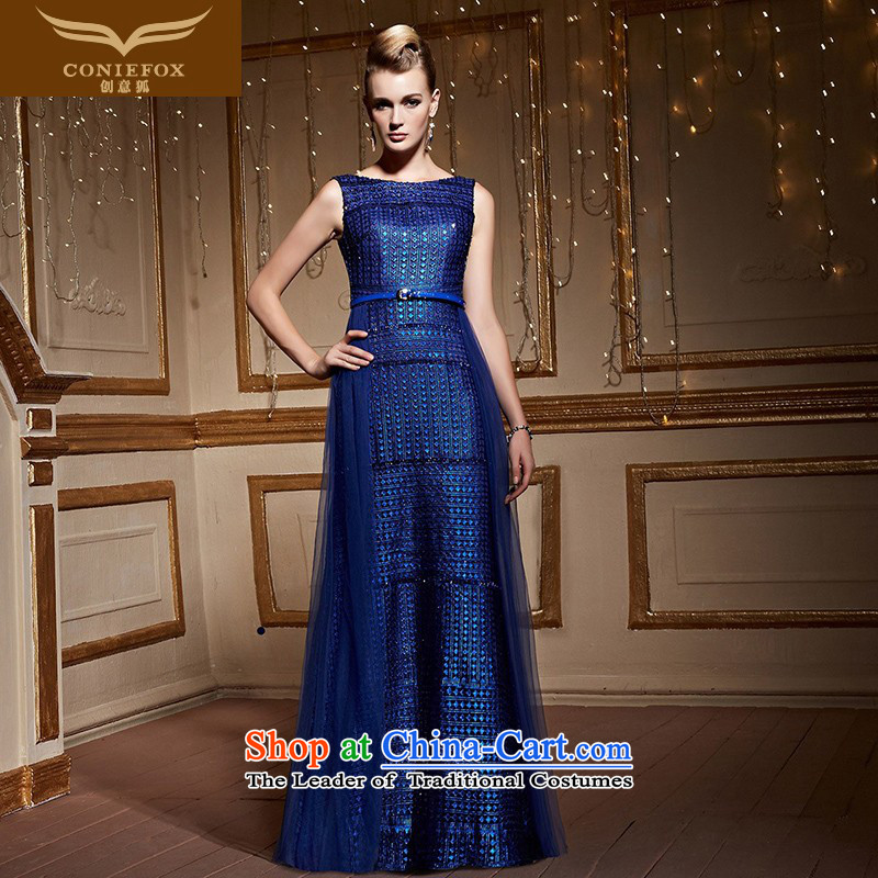 Creative?New stylish 2015 FOX shoulders banquet evening dresses Sau San long evening drink services under the auspices of the annual session of the girl will dress 31006 Blue?M