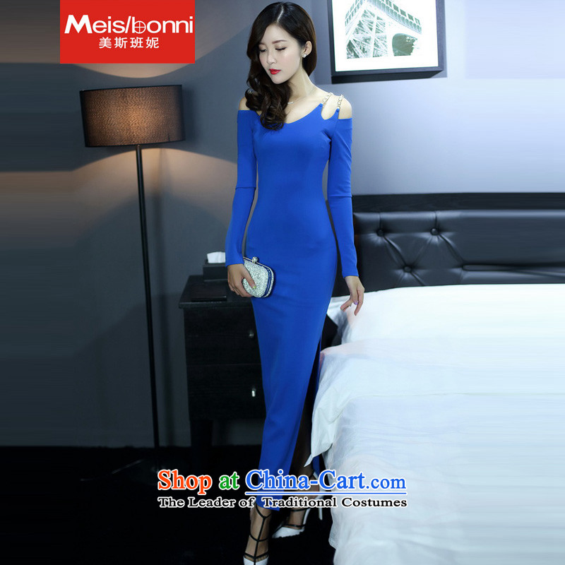 The United States at the?autumn 2015 replace Korea Connie version sexy long-sleeved knitting package and Sau San dresses dress long skirt blue?L