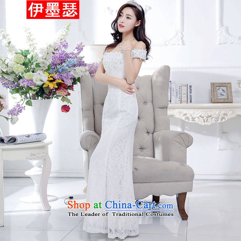 El ink Joseph?2015 Autumn, female decorated nightgown Korean long sleeveless bows services white?L