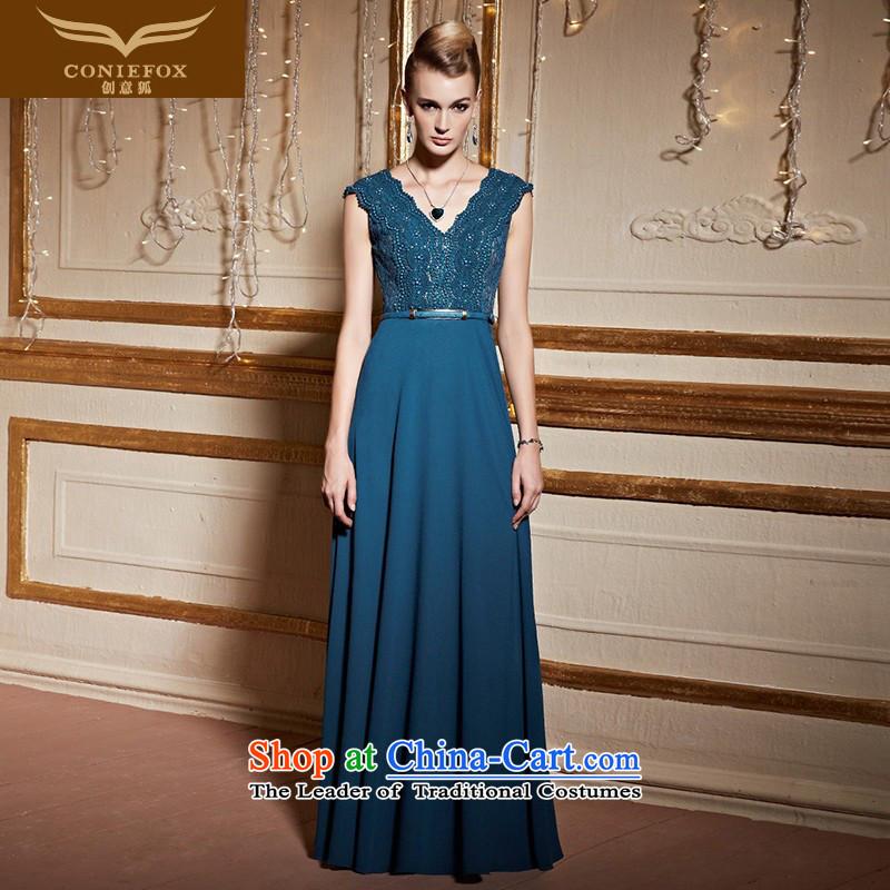 Creative Fox�V-Neck shoulders banquet dinner dress blue dress, under the auspices of Sau San long evening drink service stylish nail pearl back dress female 31011 Lake Blue�M pre-sale