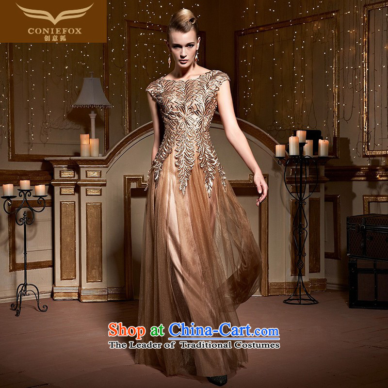 The kitsune?2015 autumn and winter creative new evening dresses company under the auspices of the annual session of the girl will dress package shoulder length_ back evening drink service 31016 Golden?S pre-sale
