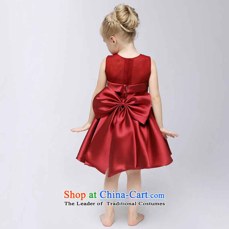 Time will serve bows Syrian children annual dress skirt girls princess skirt autumn red girls princess skirt Flower Girls dress dresses to live piano music services wine red聽130CM