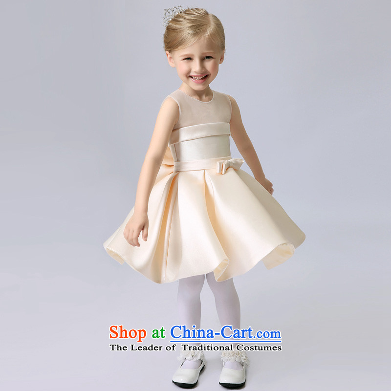 The Syrian children and of children's wear dresses time princess skirt female Flower Girls dress girls dress bon bon skirt autumn and winter children wedding will wedding dress skirt evening dinner show light champagne color?M