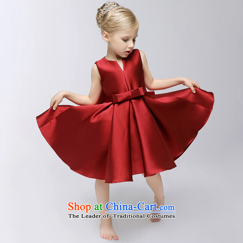 Time female Syrian Flower Girls dress child birth attendants will dress banquet wine red wedding flower girls wedding flower show services skirt Deep Red?5.30