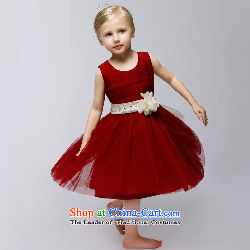 The Syrian children will stay during the spring and autumn flower girl children dress wedding girls bows to the princess skirt bon bon skirt girls show skirt banquet dance skirt wine red 140CM